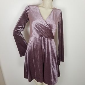 Express bell sleeve velvety mauve dress